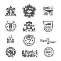 Set van fiets zwart-wit label vector