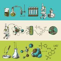 Chemie onderzoek schets banners instellen