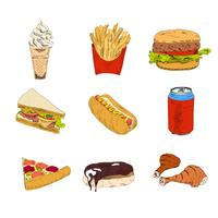 Set van fast-food pictogrammen vector