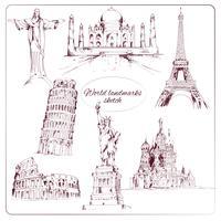 Wereld landmark schets