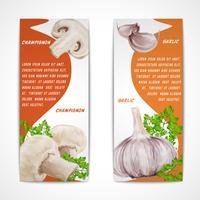 Knoflook champignon banners vector