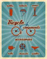 Fietsonderdelen poster vector