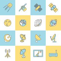 Satelliet vlakke lijn iconen