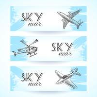 Vliegtuigen pictogrammen banners schets