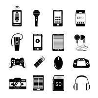 Gadget pictogrammen zwart vector