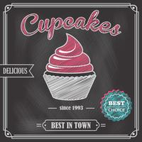 Cupcake schoolbord poster vector