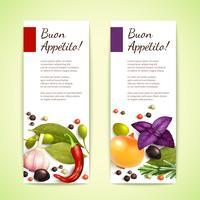 Kruiden en specerijen banners verticaal vector