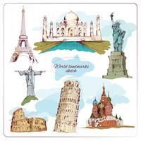 Wereld landmark schets gekleurd