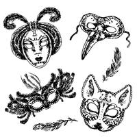 Carnaval masker pictogram schets ingesteld