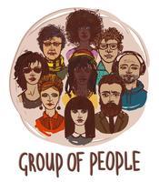 Schets groep mensen