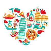 Italië pictogrammen hart vector