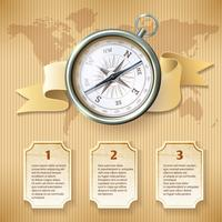 Zilveren kompas infographic vector