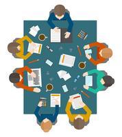 Zakelijke bijeenkomst in bovenaanzicht