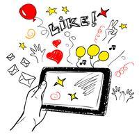 Hand touchscreen sociale schets