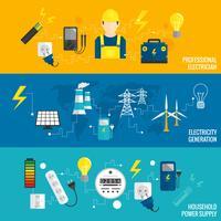 Set van lijnbanner energieopwekking