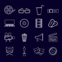 Bioscoop pictogrammen instellen overzicht vector