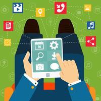 Mobiele toepassingen platte concept vector
