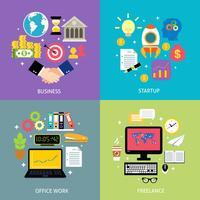 Bedrijfstypen concept plat vector