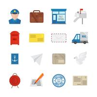 Post dienst pictogrammen plat vector