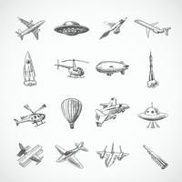 Vliegtuigen pictogrammen schets