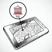 Schets tekenen tablet pc met navigatiekaart vector