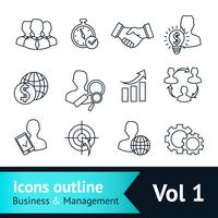 Business en management pictogrammen schetsen vector