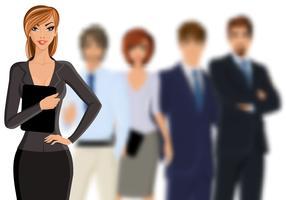 Bedrijfsvrouw met commercieel team