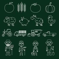 Boerderij pictogrammen instellen omtrek