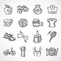 Fitness schets iconen set vector