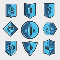 Boksen emblemen instellen vector