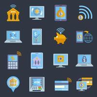 Pictogrammen voor mobiel bankieren vector