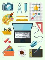 Ontwerper werkplek pictogrammen vector