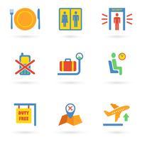 Luchthaven pictogrammen plat vector