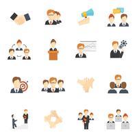Teamwerk pictogrammen plat