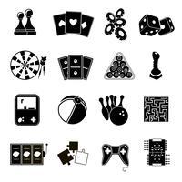 Spelpictogrammen ingesteld zwart vector