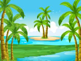 Oceaanscène met kokospalmen op eiland