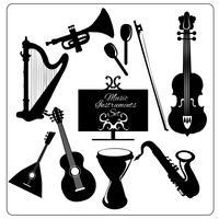 Muziekinstrumenten zwart vector