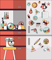 Keuken interieur vlakke lijn vector