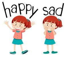 Tegenovergestelde woorden voor blij en verdrietig vector