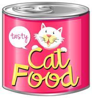 Kattenvoedsel met roze etiket vector