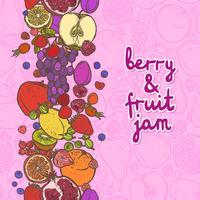 Fruit en bessen grens verticaal vector