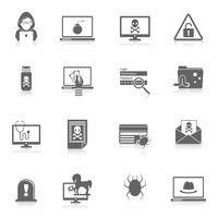Hacker pictogrammen zwart