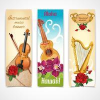 Muziekinstrumenten banners vector