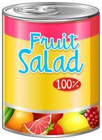 Fruitsalade in aluminium blikje vector