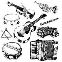 Muziekinstrumenten pictogrammen instellen vector