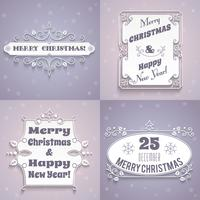 Kerst labels witte set vector