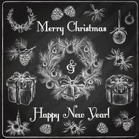 Kerstdecoratie schets gekleurd vector