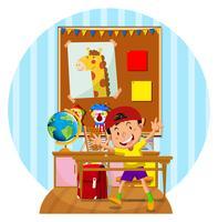 Gelukkige jongen in het klaslokaal vector