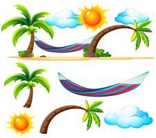Strandartikelen en scène op het strand