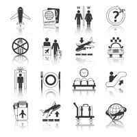Luchthaven pictogrammen zwart en wit ingesteld vector
